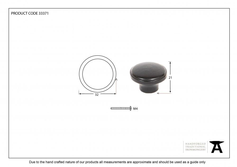 Black Ribbed Cabinet Knob image