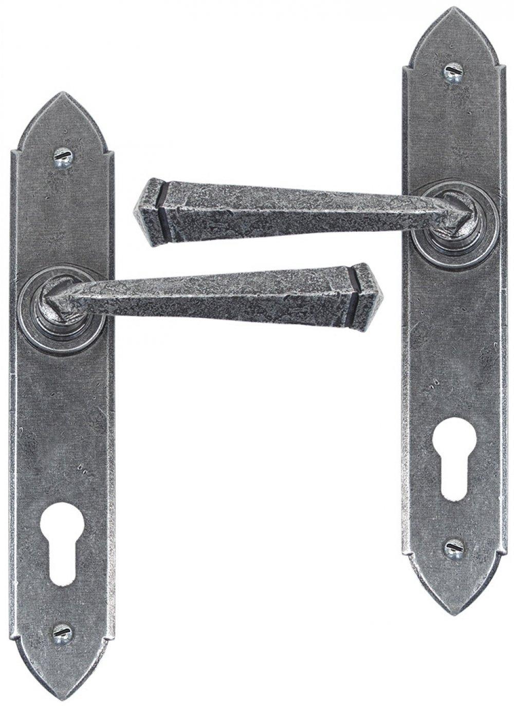 Pewter Gothic Lever Espag. Lock Set image