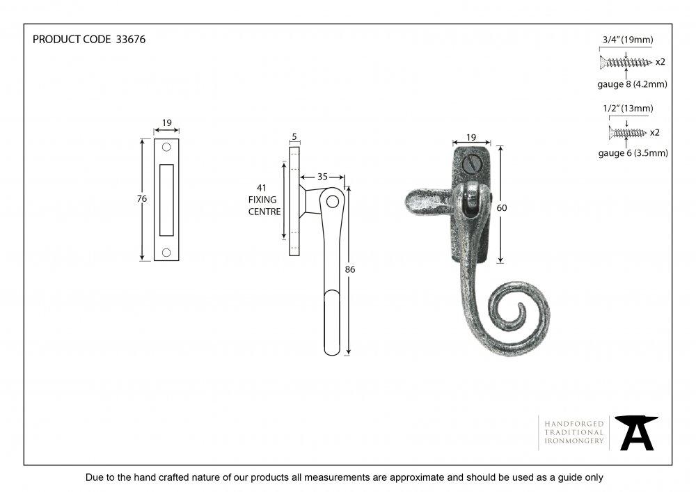 Pewter Monkeytail Fastener image