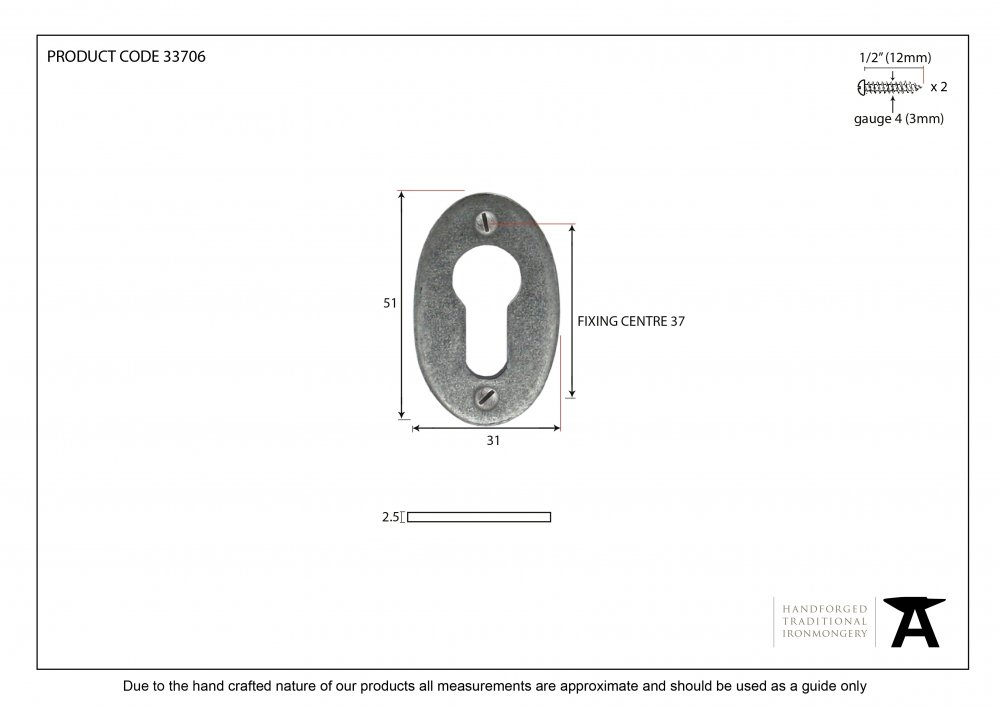 Pewter Oval Euro Escutcheon image