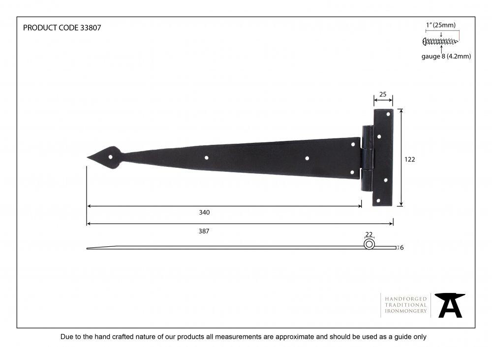 """Black 15"""" Arrow Head T Hinge (pair) image"""