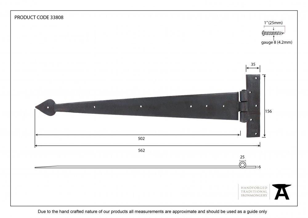 """Black 22"""" Arrowhead T Hinge (pair) image"""