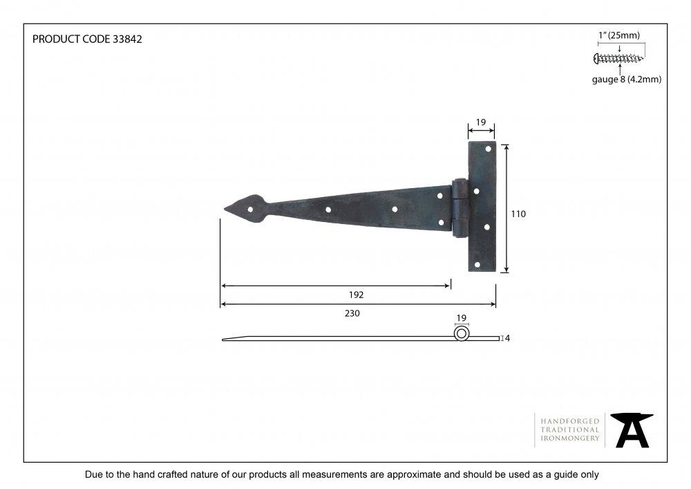 Beeswax 9'' Arrow Head T Hinge (pair) image