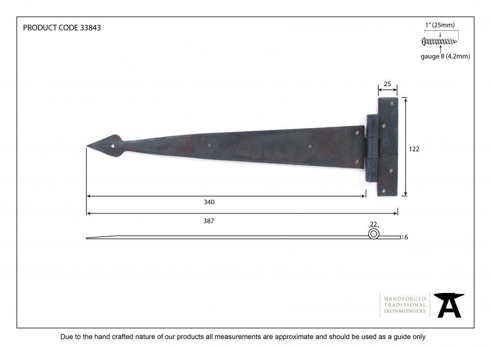 "Beeswax 15"" Arrow Head T Hinge (pair) image"