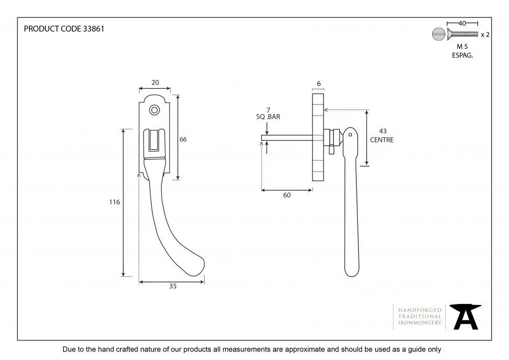 Beeswax Locking Peardrop Espag - RH image