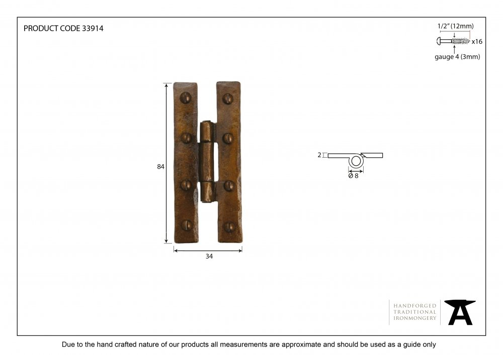 "Bronze 3 1/4"" H Hinge (pair) image"