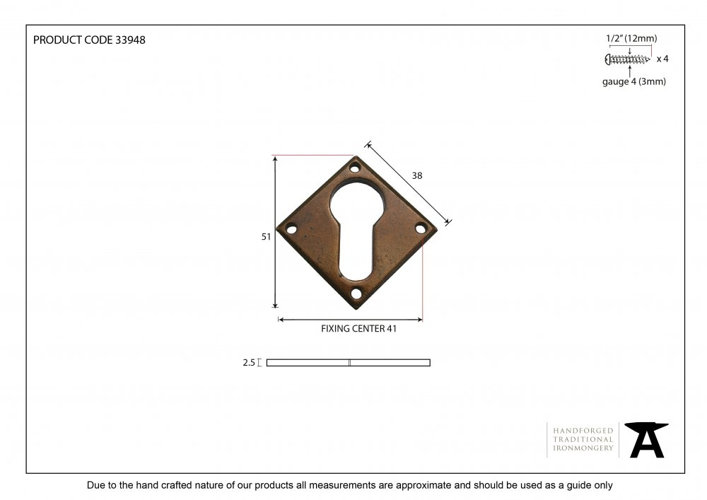 Bronze Diamond Euro Escutcheon image