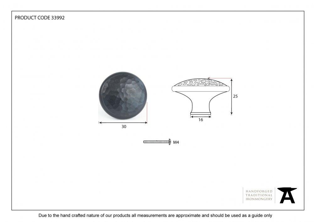 Black Beaten Cupboard Knob - Medium image