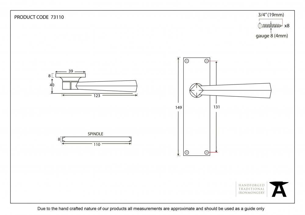 Black Straight Lever Latch Set image