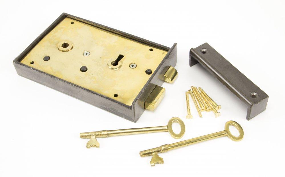 Iron Left Hand Rim Lock - Large image