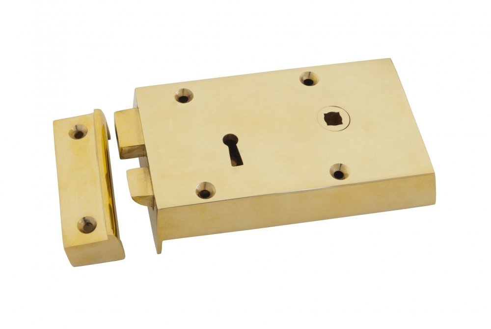 Polished Brass Right Hand Rim Lock - Small image