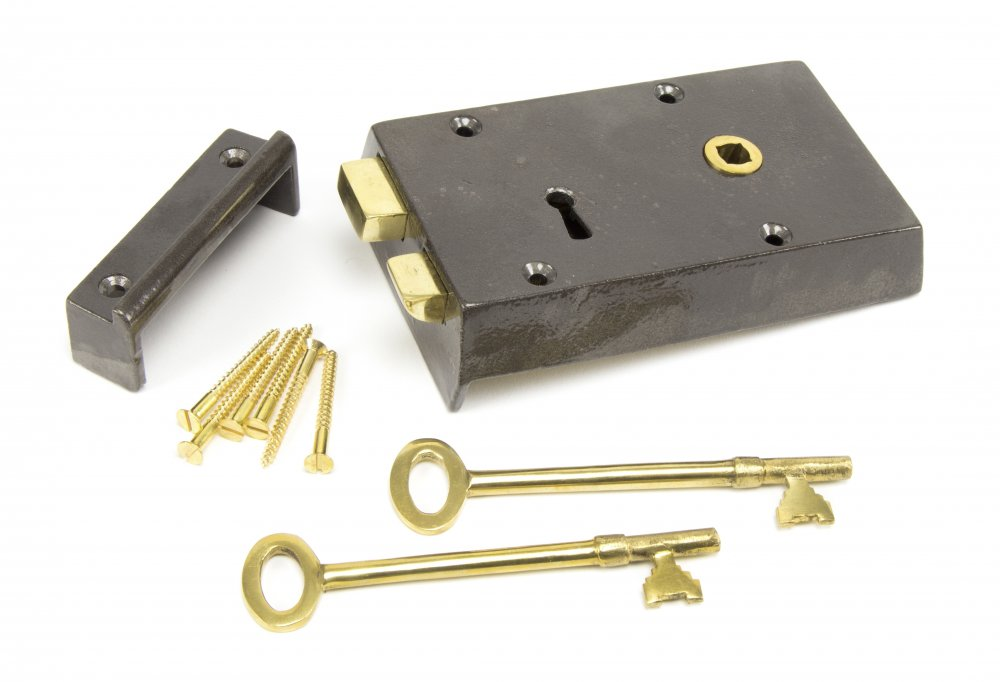Iron Right Hand Rim Lock - Small image