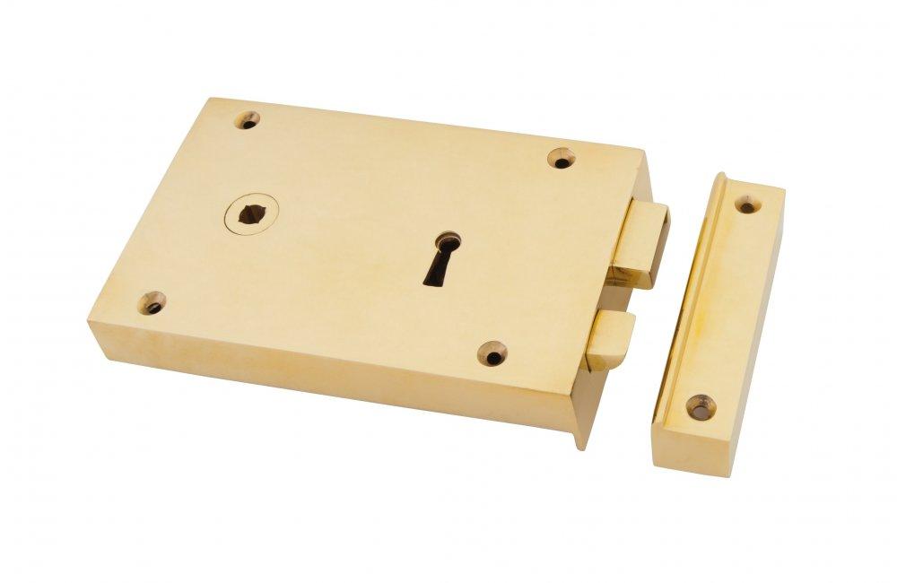 Polished Brass Left Hand Rim Lock - Large image