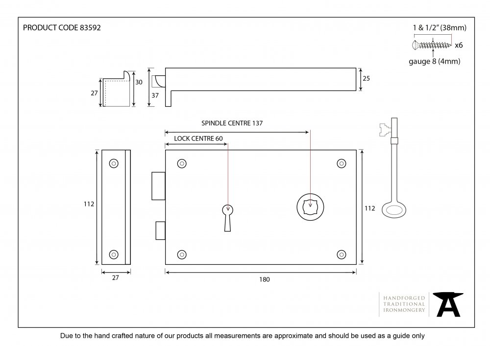 Iron Right Hand Rim Lock - Large image