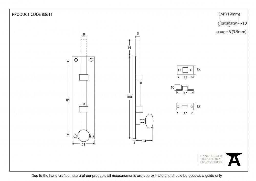 "Polished Nickel 4"" Universal Knob Bolt Straight image"