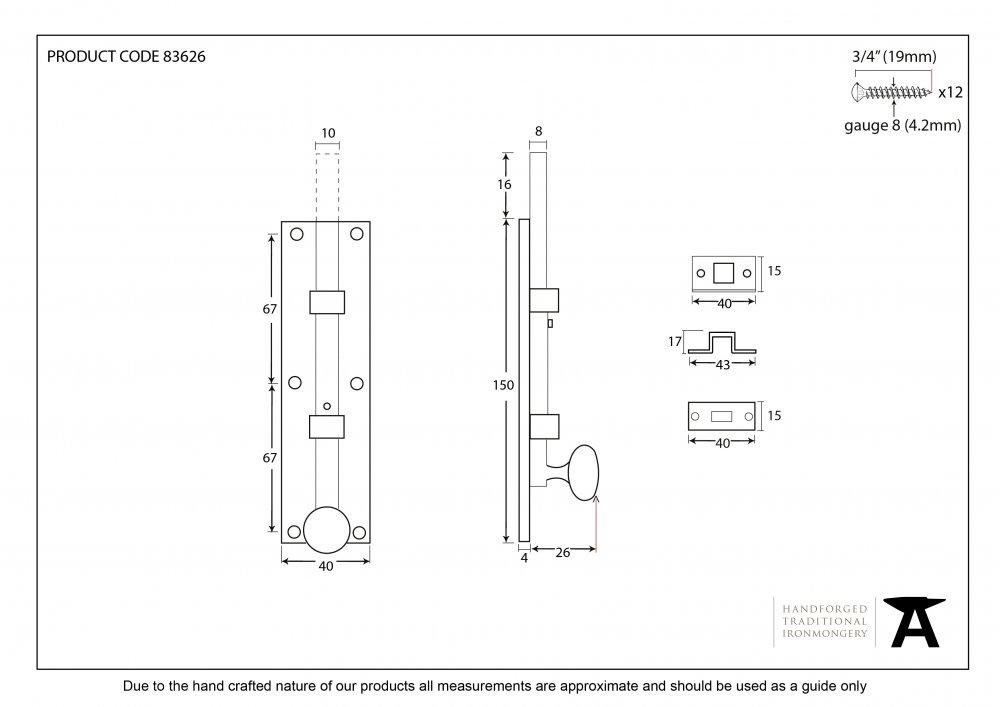"Polished Nickel 6"" Universal Knob Bolt Straight image"