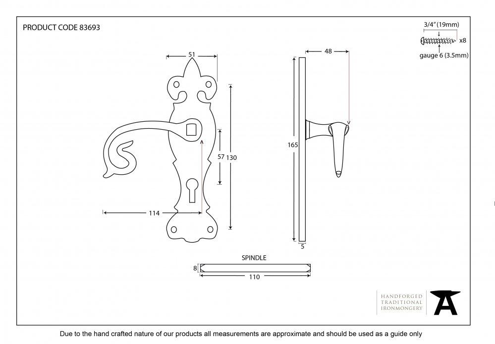 Black Curly Lever Lock Set image