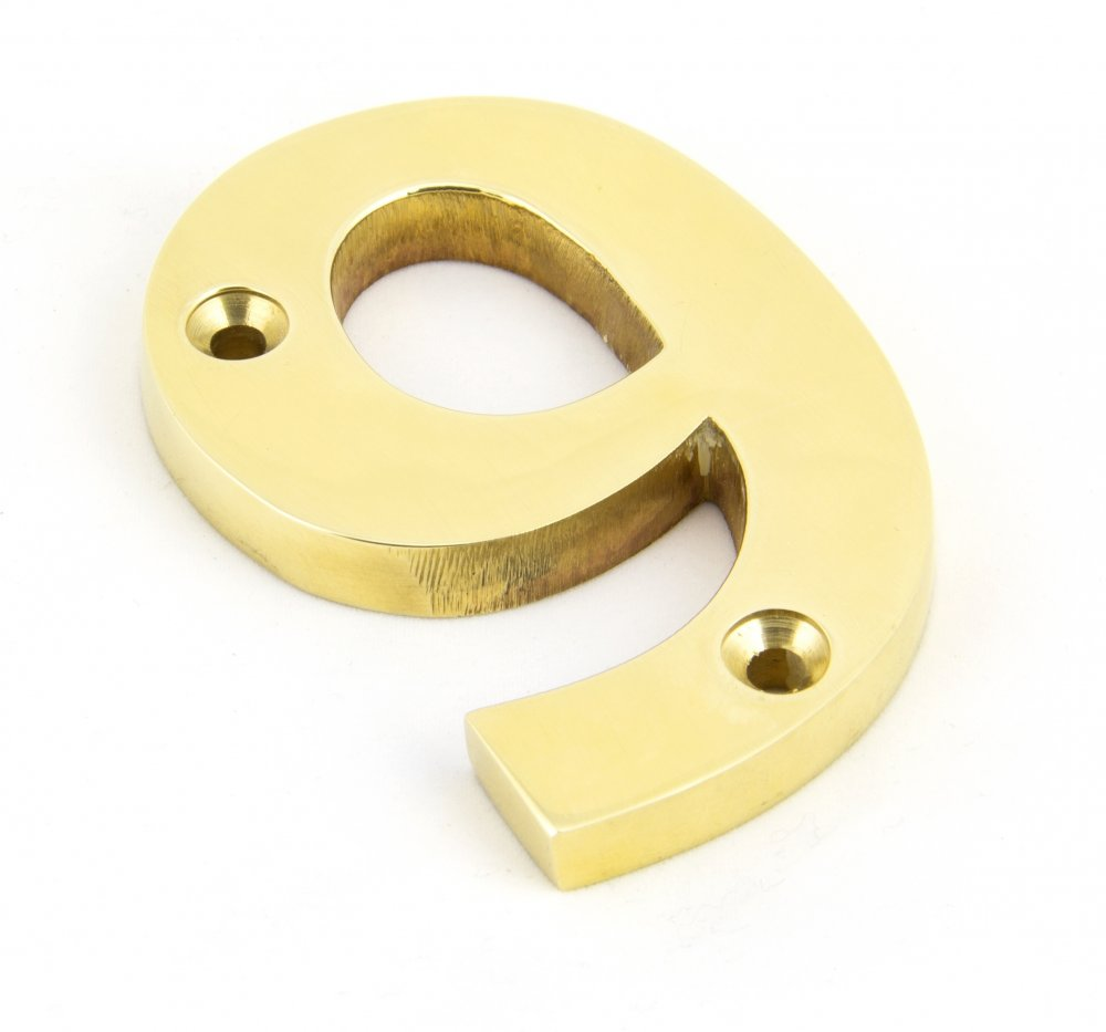 Polished Brass Numeral 9 image