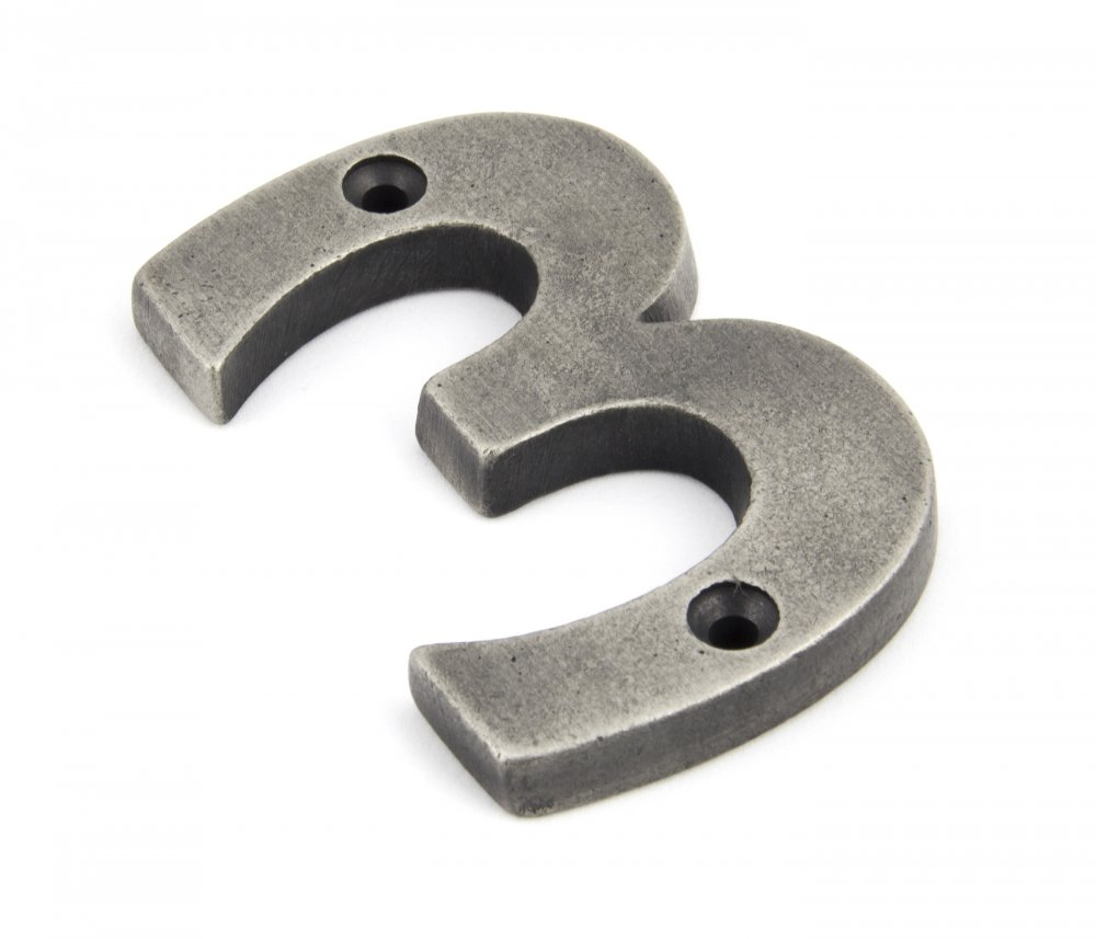 Antique Pewter Numeral 3 image