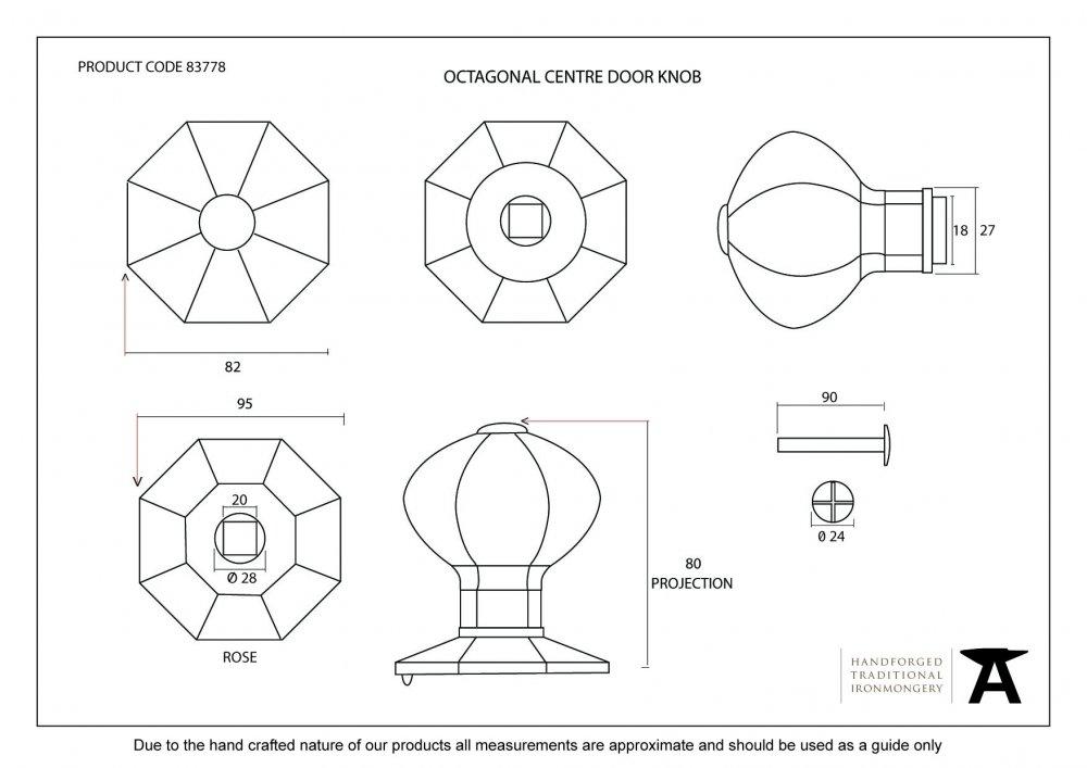 Pewter Octagonal Centre Door Knob image