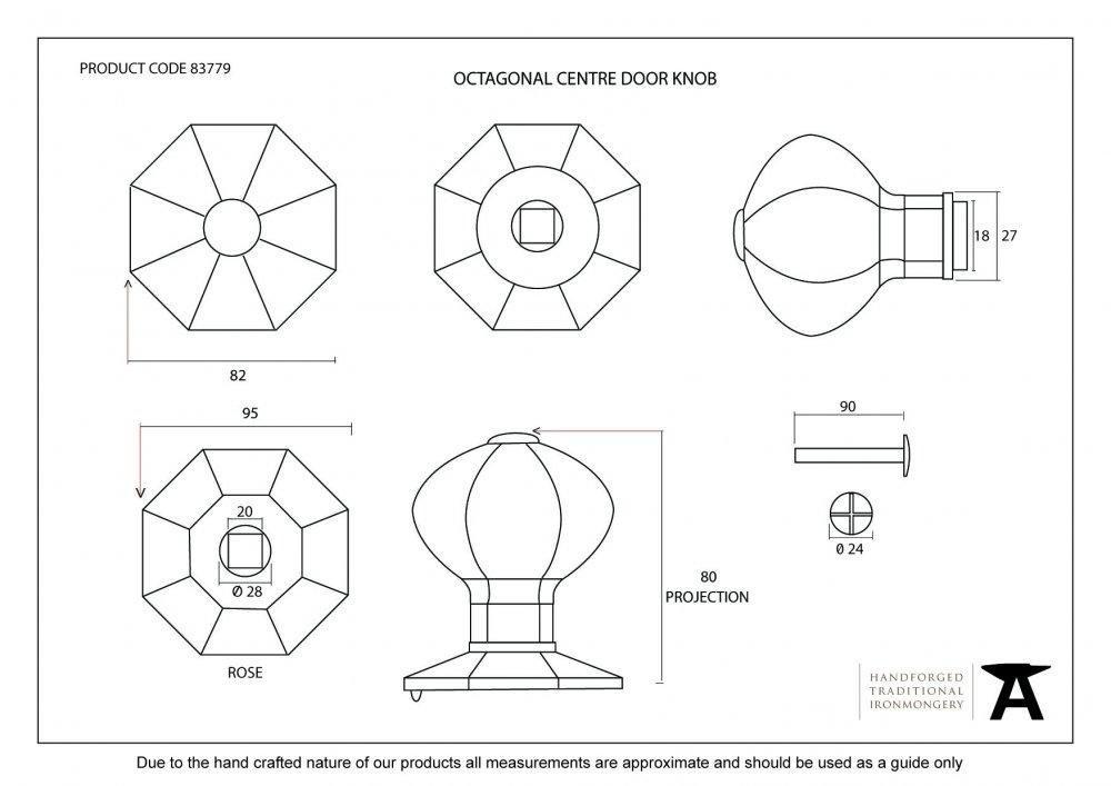 Octagonal Centre Door Knob - Black image