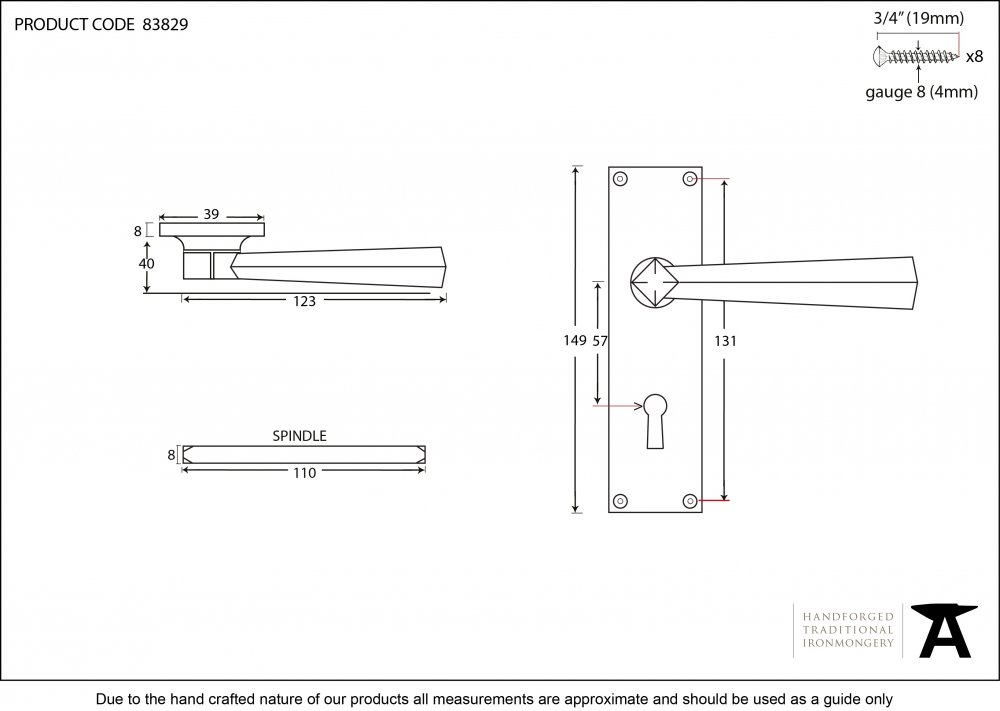 Polished Brass Straight Lever Lock Set image