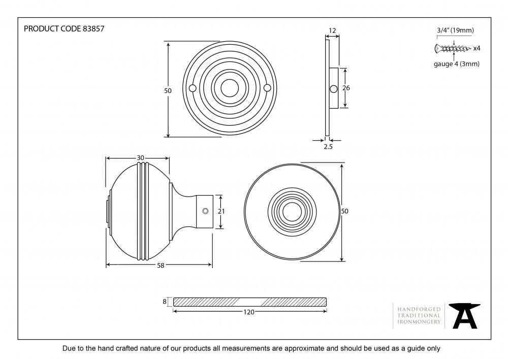 Aged Brass Prestbury Mortice/Rim Knob Set - 50mm image