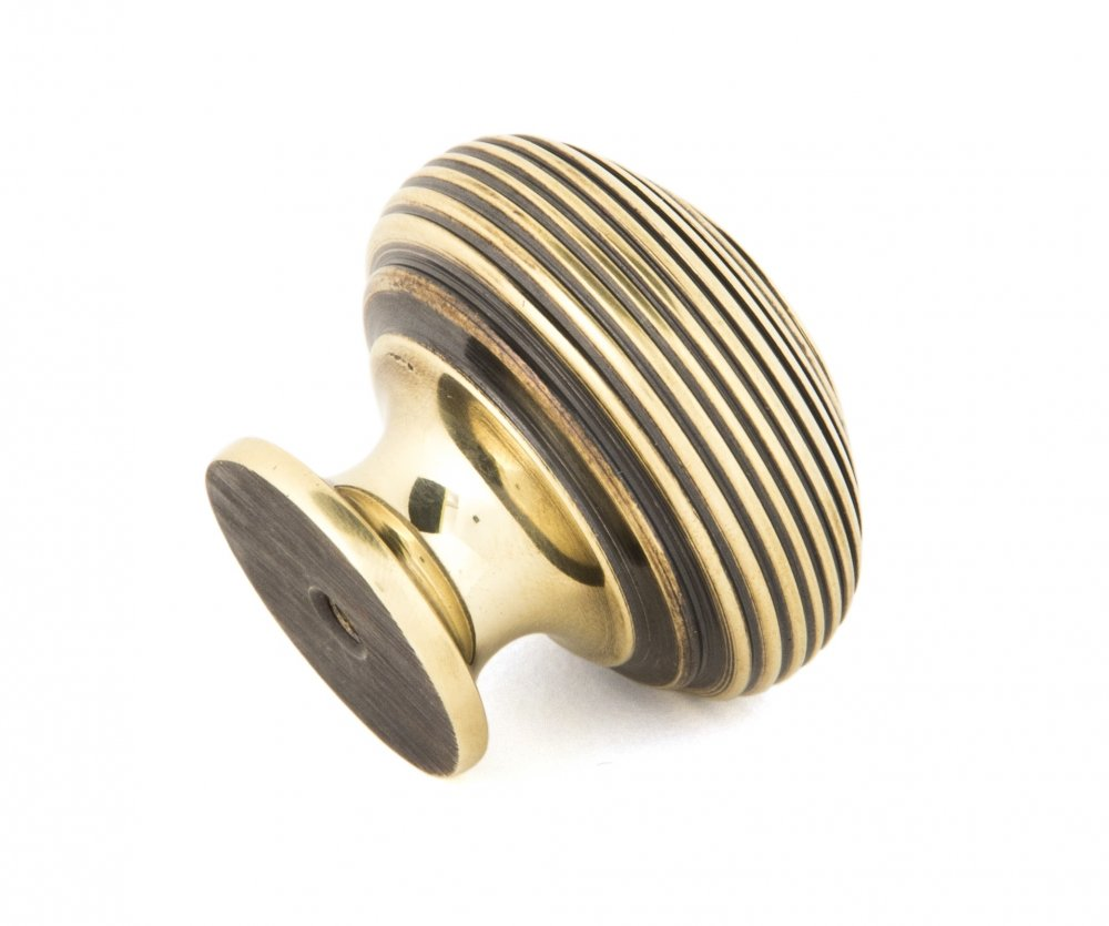 Aged Brass Beehive Cabinet Knob - Large image