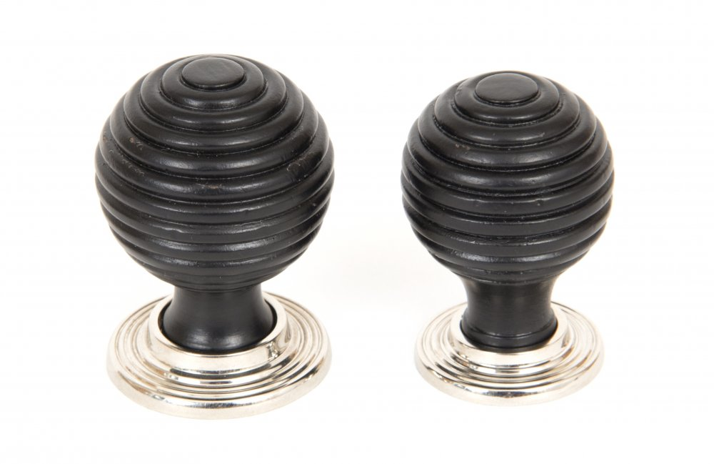 Ebony & Polished Nickel Beehive Cabinet Knob - Small image