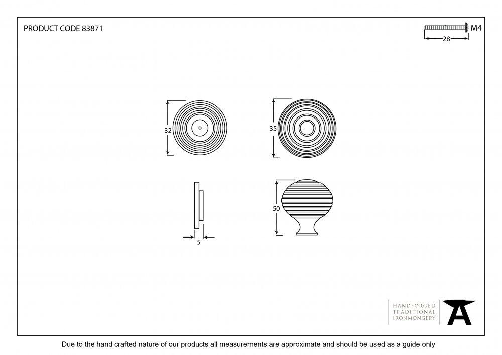 Ebony & Aged Brass Beehive Cabinet Knob - Small image