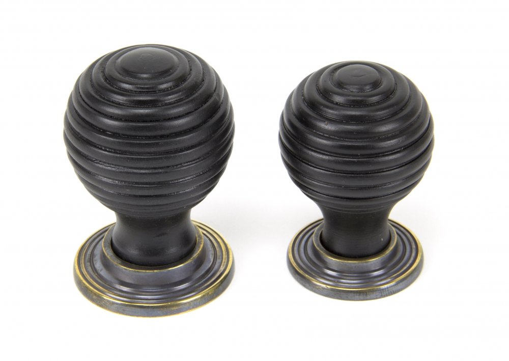 Ebony & Aged Brass Beehive Cabinet Knob - Large image