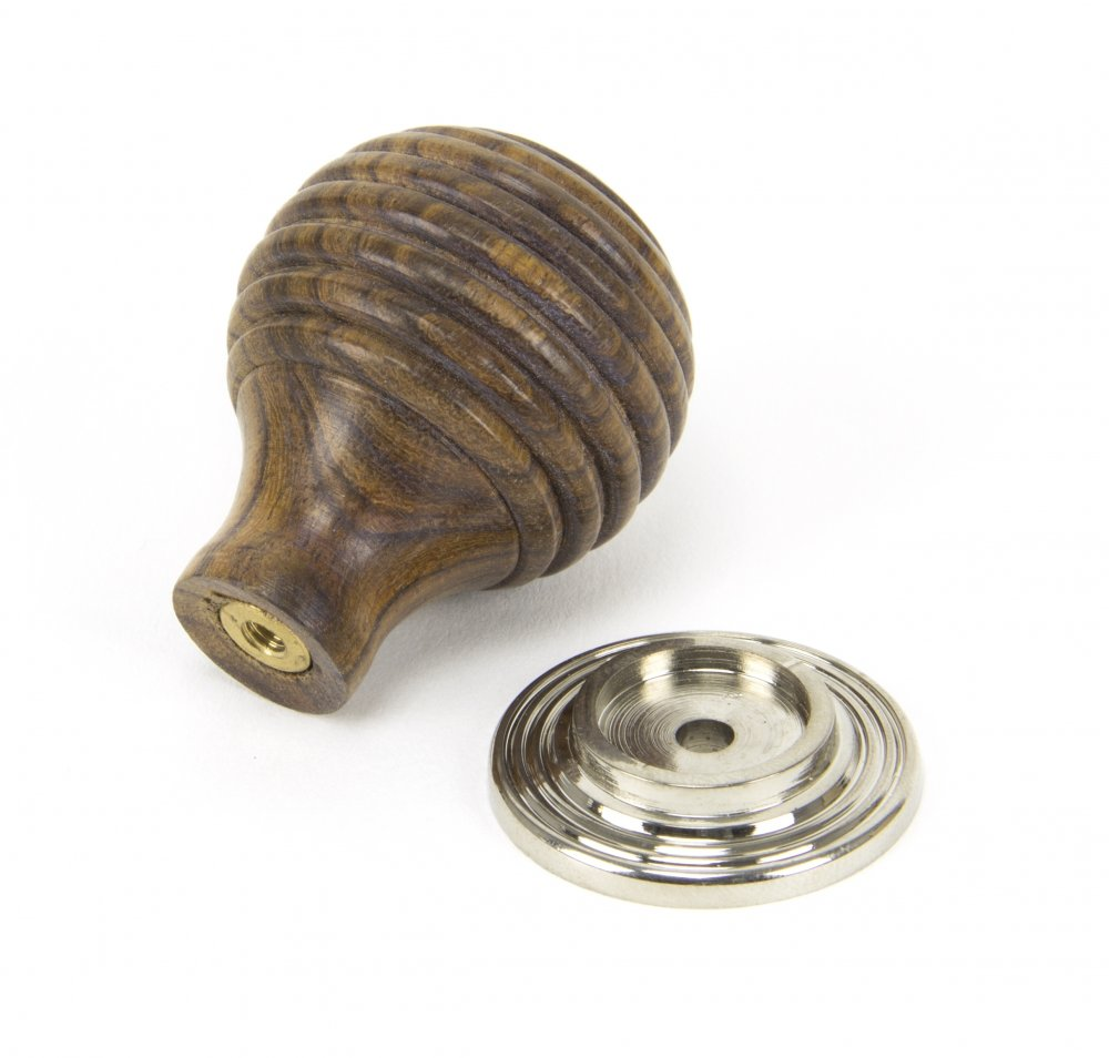 Rosewood & Polished Nickel Beehive Cabinet Knob - Small image