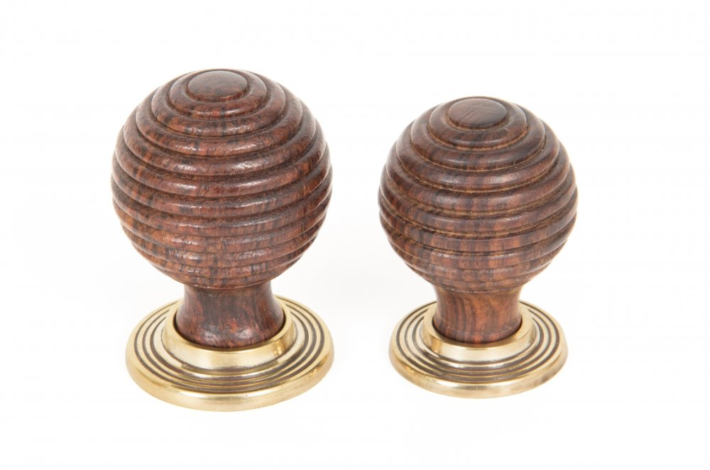 Rosewood & Aged Brass Beehive Cabinet Knob - Large image