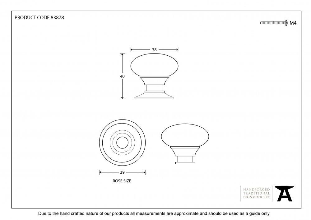Polished Nickel Mushroom Cabinet Knob - Large image