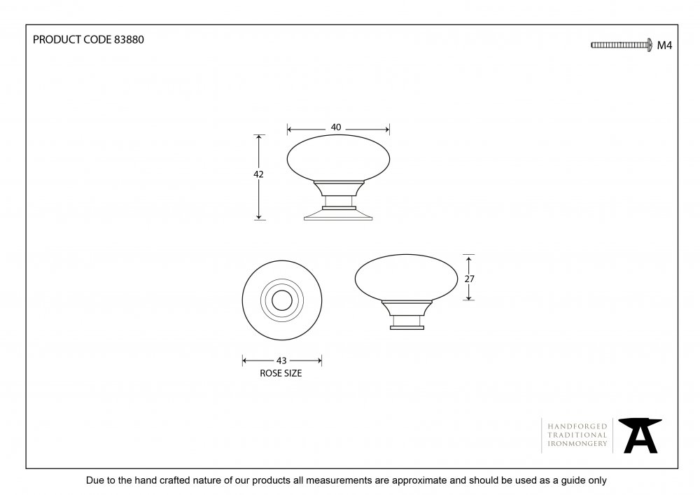 Polished Nickel Oval Cabinet Knob - Large image