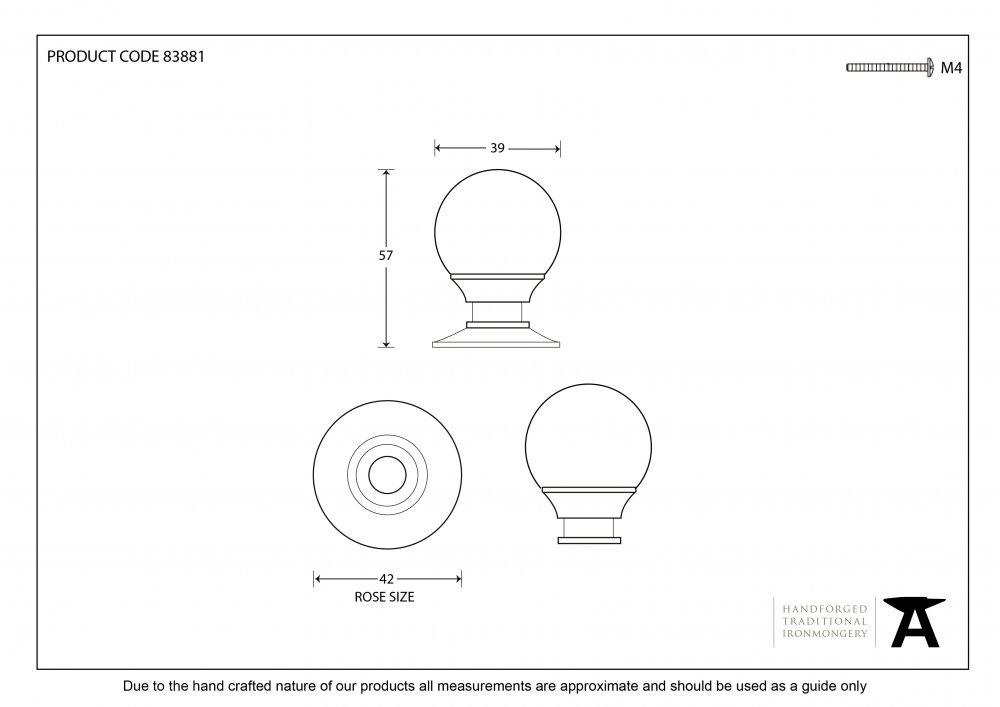 Polished Brass Ball Cabinet Knob - Large image