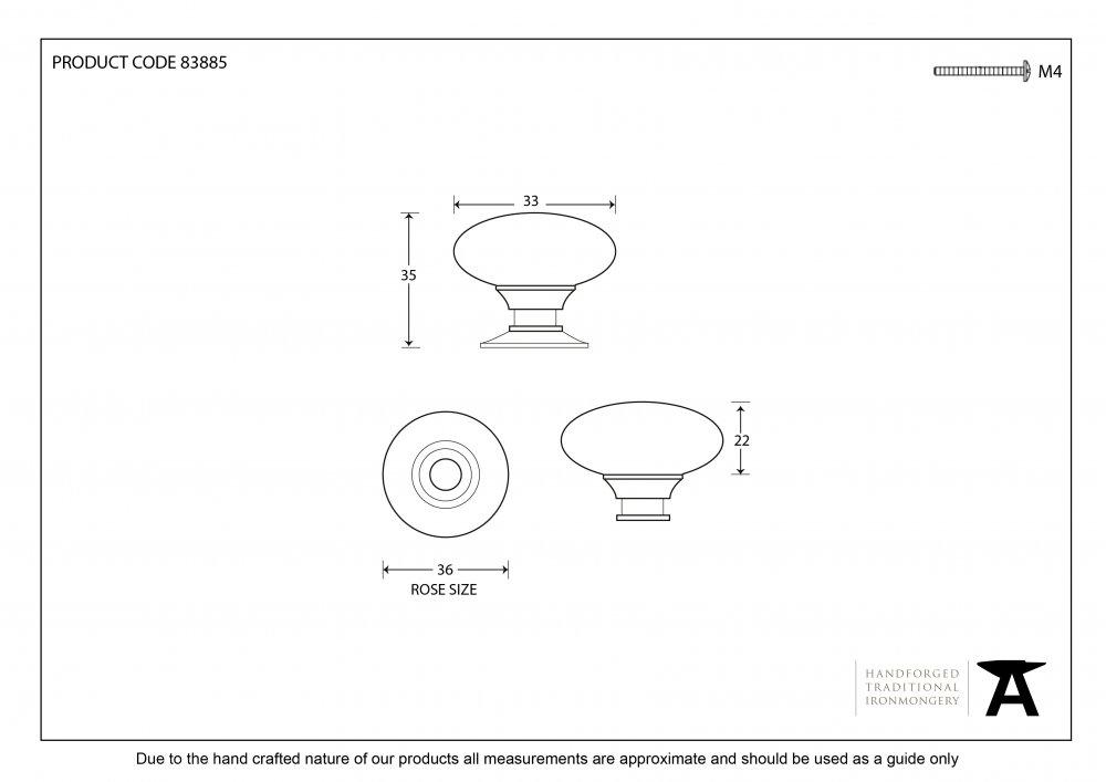 Polished Brass Oval Cabinet Knob - Small image