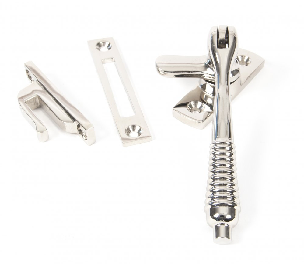 Polished Nickel Reeded Fastener - Locking image