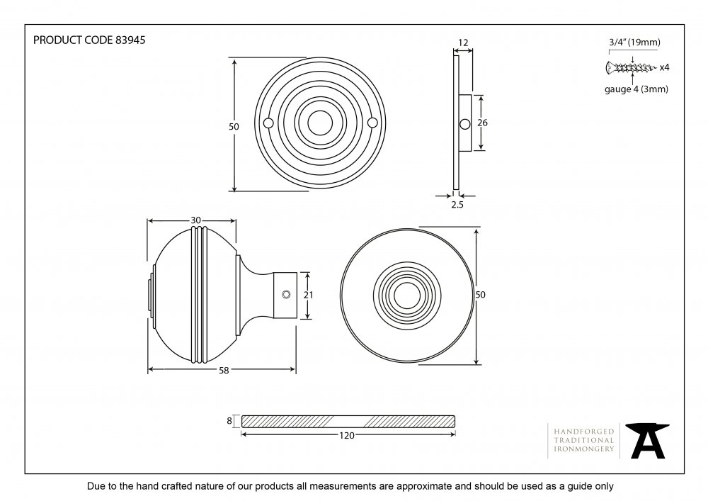 Aged Bronze Prestbury Mortice/Rim Knob Set - 50mm image