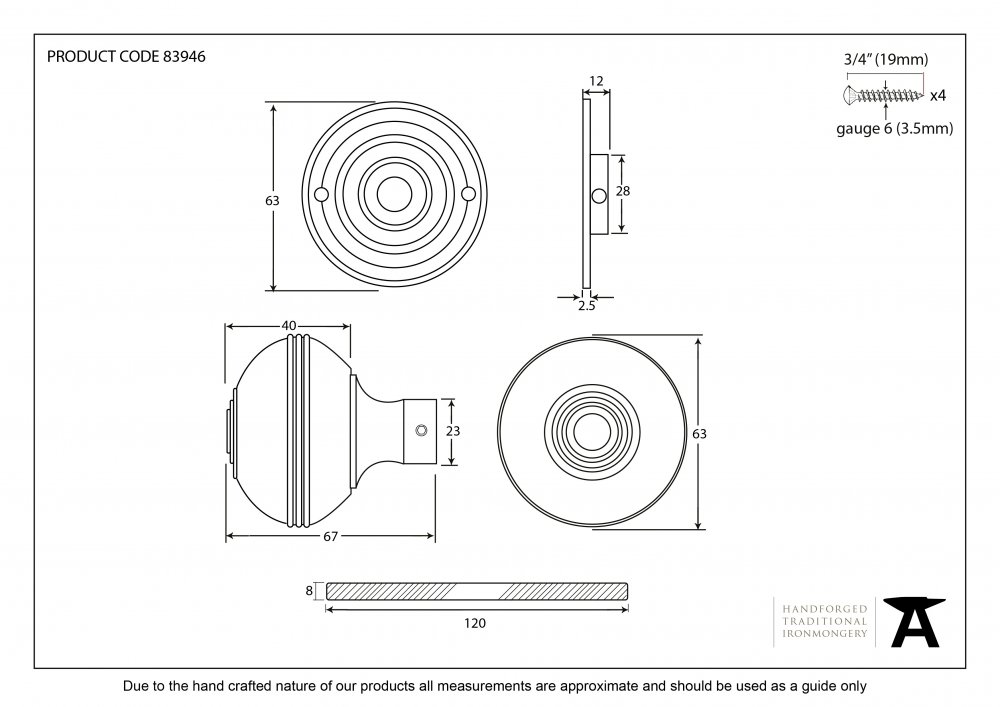 Aged Bronze Prestbury Mortice/Rim Knob Set - 63mm image