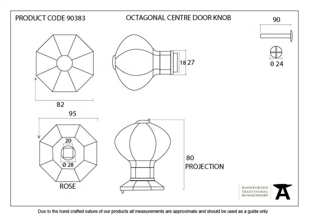 Pewter Octagonal Centre Door Knob - Internal image