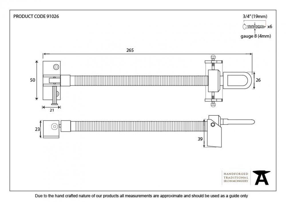 Polished Brass 12'' Fanlight Screw Opener image