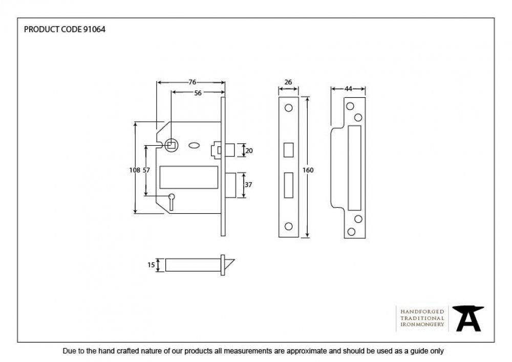 Black 3'' 5 Lever BS Sash Lock image