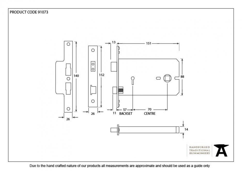 Brass 5 Lever Horizontal Sash Lock image