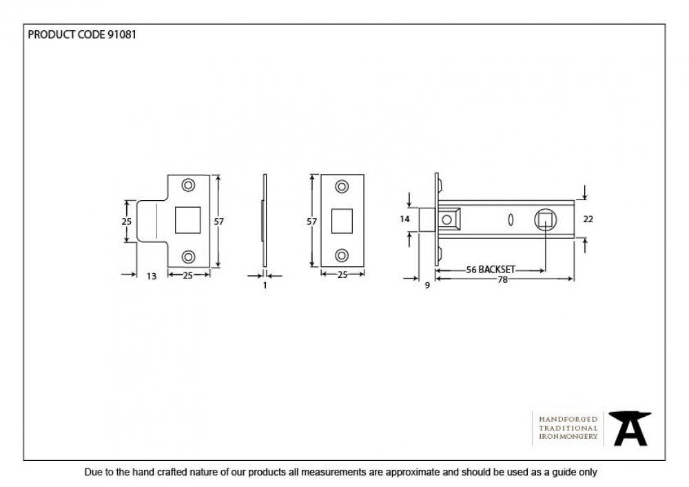 Brass 3'' Tubular Mortice Latch image