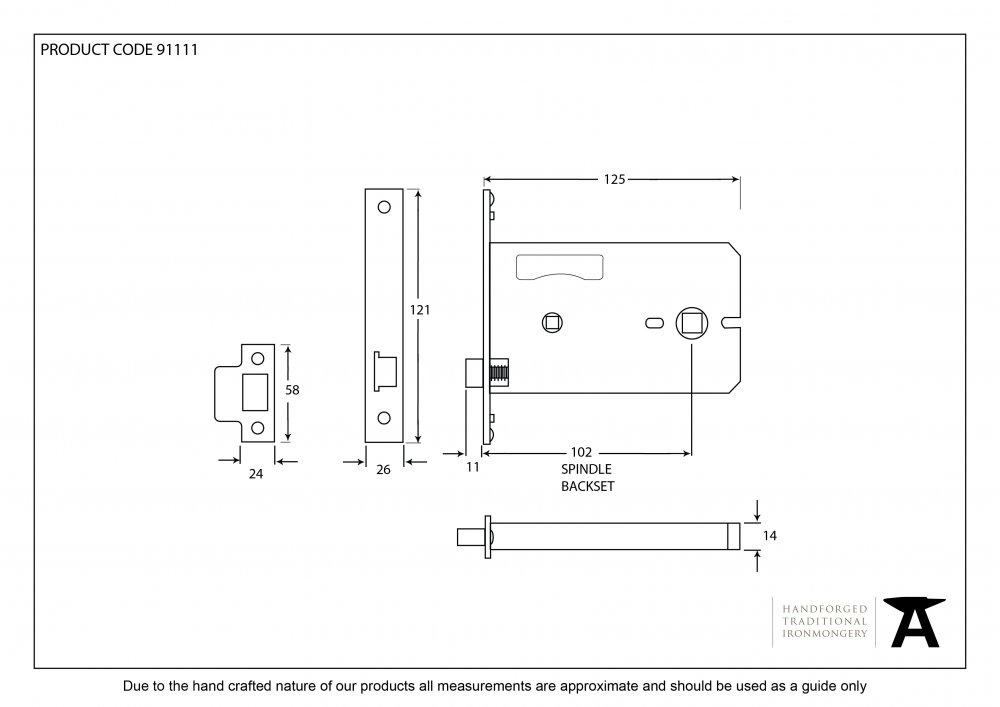 "SS 5"" 3 Lever Horizontal Bathroom Lock image"