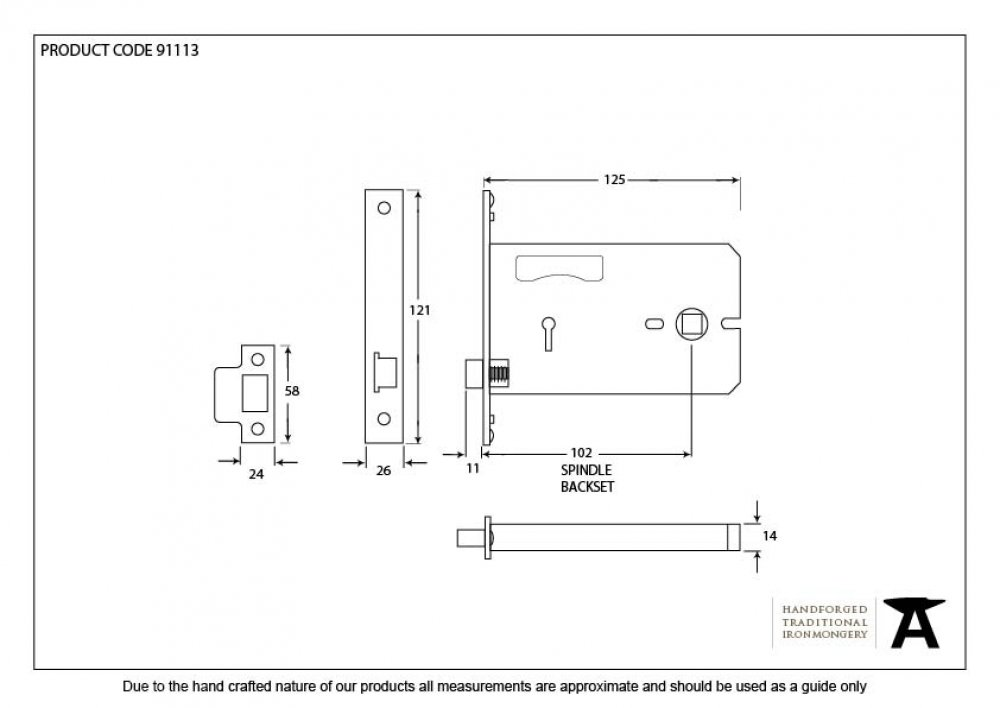 "Brass 5"" 3 Lever Horizontal Latch image"