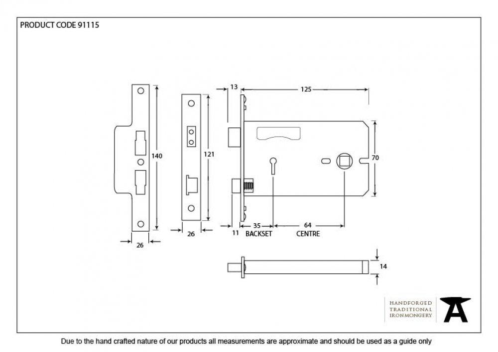 "Brass 5"" 3 Lever Horizontal Lock image"