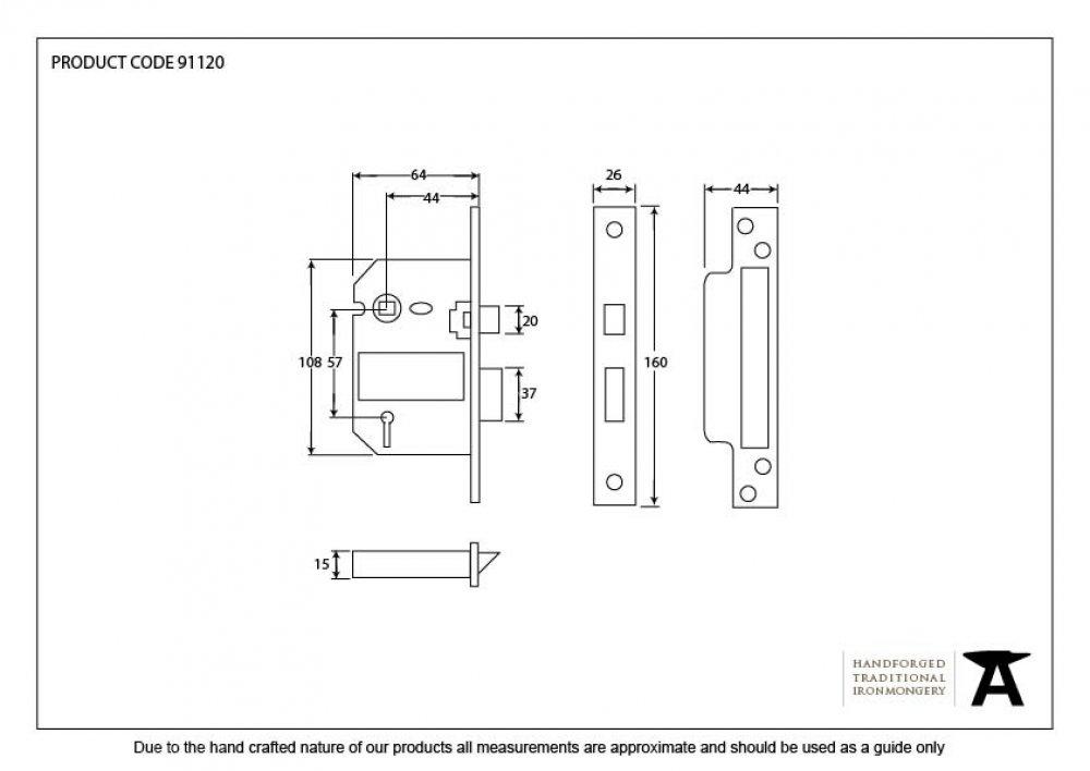 "Brass 2.5"" British Standard 5 Lever Sashlock image"
