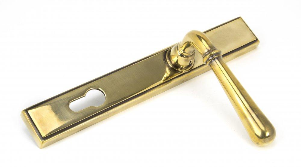 Aged Brass Newbury Slimline Lever Espag. Lock Set image